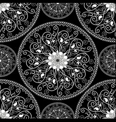 elegance black and white paisley mandala seamless vector image
