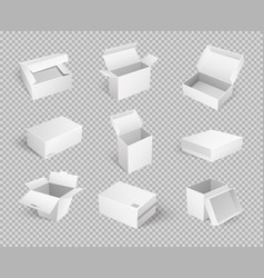 Empty cardboard cartoon containers isolated icons vector