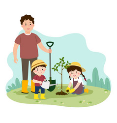 Family planting young tree vector