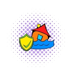 Flood insurance icon comics style vector