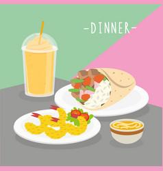 food meal dinner cook dairy eat drink menu vector image