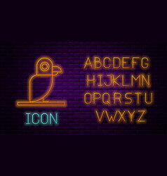 Glowing neon line pirate parrot icon isolated on vector