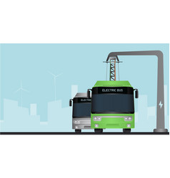 Green electric bus at a stop vector