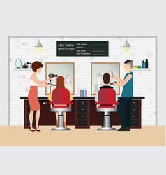 Hairdresser cuts customer s hair in beauty vector