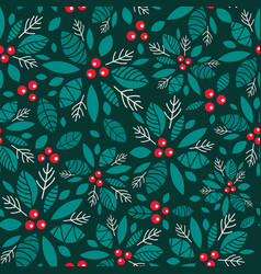 holly berry dark green red holiday vector image