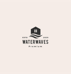 house water wave hipster vintage logo icon vector image
