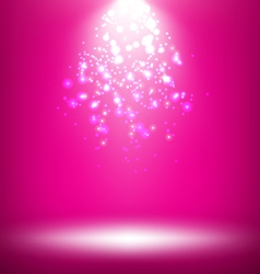 Illuminated Stage with Light Template on Pink vector image