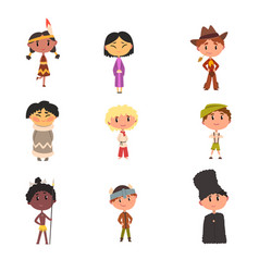 Kids in national clothes boys and girls cartoon vector