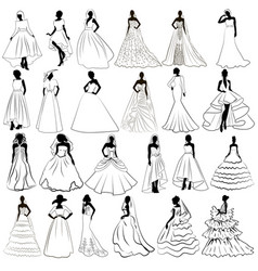 kit silhouette brides in wedding charge vector image