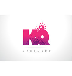 kq k q letter logo with pink purple color and vector image