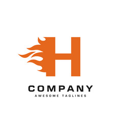 letter h and fire logo vector image