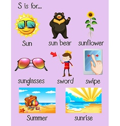 Many words begin with letter S vector image