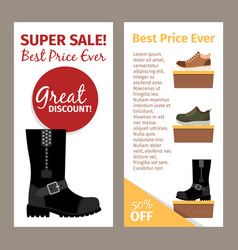 men winter and autumn boots flyers vector image