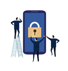 Mobile device security cyber security concept vector