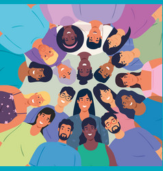 Multiethnic big group people together vector
