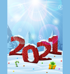 new year 2021 in shape knitted fabric in snow vector image