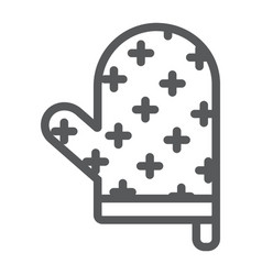 oven glove line icon kitchen and cooking vector image