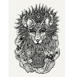 Pen and ink of Indian fox holding vector image