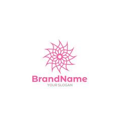 Pink mandala flower logo design vector