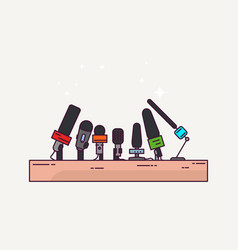 press conference and microphones vector image