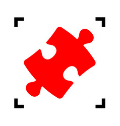 Puzzle piece sign red icon inside black vector