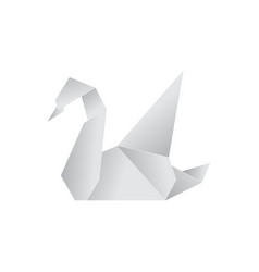 realistic detailed 3d origami paper animal swan vector image