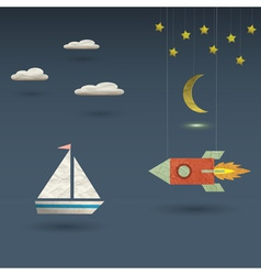 Retro rocket and sailboat vector image