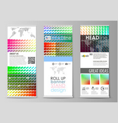 Roll up banner stands flat design templates vector