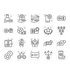 royalty program line icon set vector image