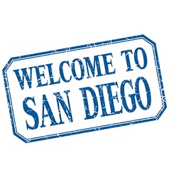 San Diego - welcome blue vintage isolated label vector