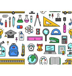 School tools seamless pattern vector