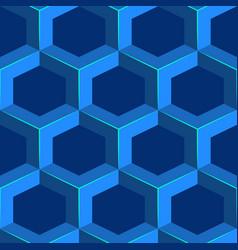seamless geometric volumetric pattern blue vector image