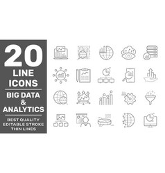 set data analysis and big data related vector image