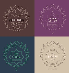 Set floral logos template for beauty salon spa vector