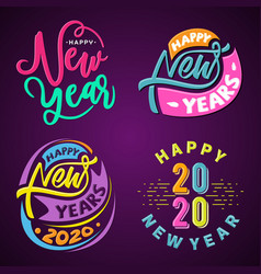 set happy 2020 new year insta color banner for vector image