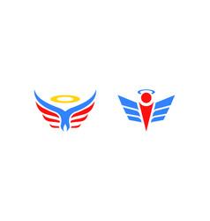 set of angel logo design vector image