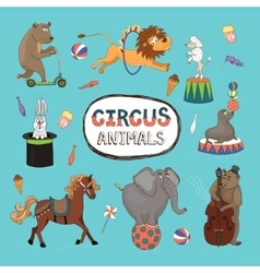 Set of colorful circus animals vector