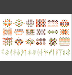 Set of colorful ethnic patterns decorative vector