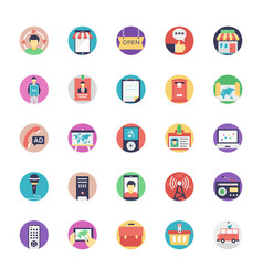Set of media and advertisement icons vector