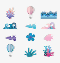Set of paper art icons vector