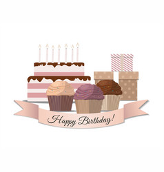 set of sweet cupcake birthday cake and gifts vector image