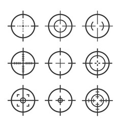 set target aim icons sniper scope and vector image