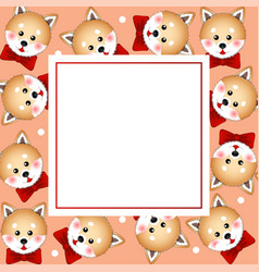 Shiba inu dog with red ribbon on orange banner vector