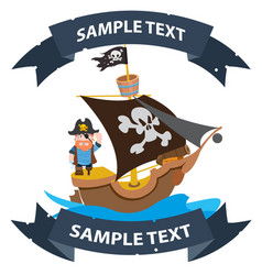 ship with black sails pirate frigate with ribbon vector image