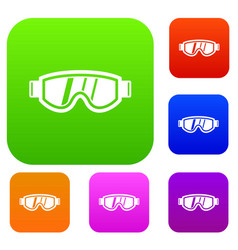 Skiing mask set collection vector