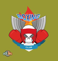Skull in boxing gloves and helmet with the wings vector image