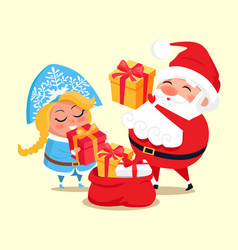 snow maiden santa with gifts vector image