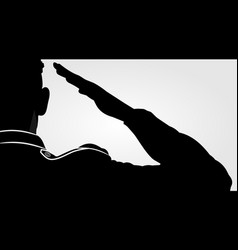 soldier officer saluting silhouette vector image