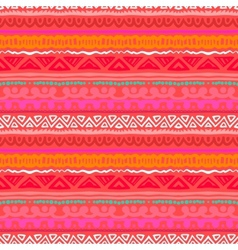 Striped ethnic pattern in vibrant red orange vector image