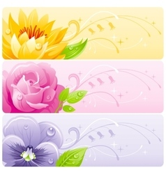Summer flowers banner set with natural background vector image